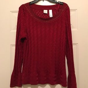 Emma James Beaded Bell Sleeve Sweater